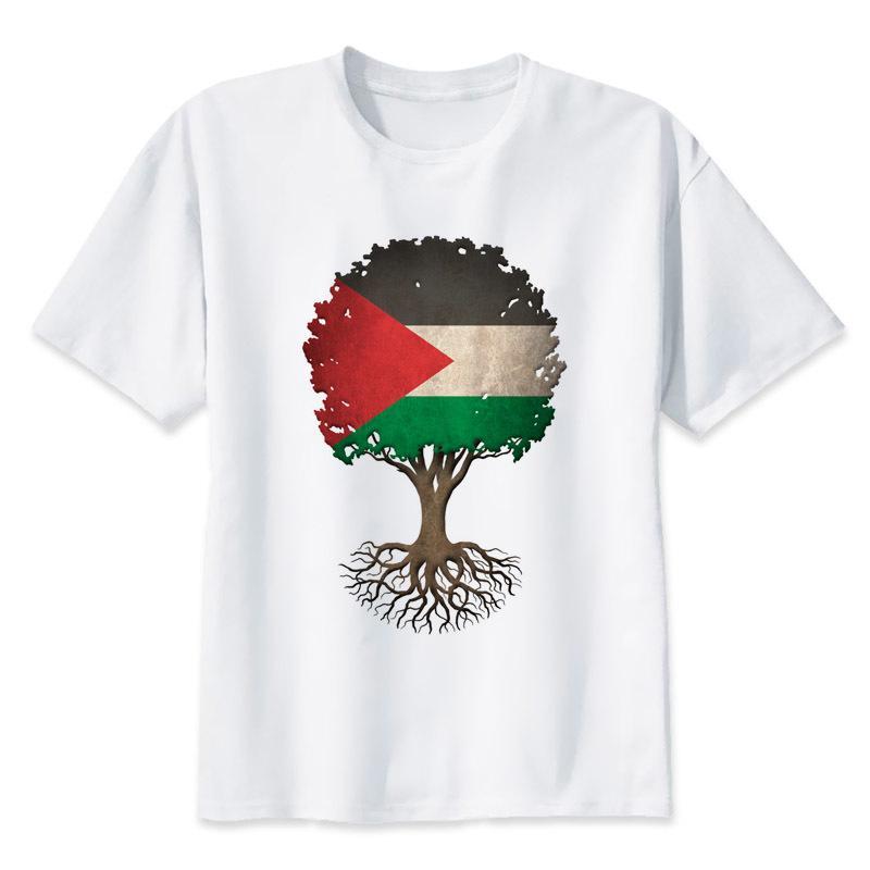 Hayat Bayrak Tişörtlü Unisex Stil Yeni Orjinal Unisex Tişört Kısa Kol Streetwear Erkekler Tişört Renk Of Filistin Ağacı