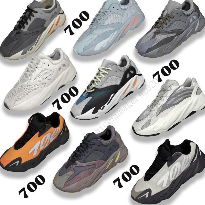 Fósforo Naranja Kanye 700 para hombre de los zapatos corrientes de Tie-dye carbono azul del trullo Sal analógico estático malva sólido gris reflectantes 500 Formadores las zapatillas de deporte