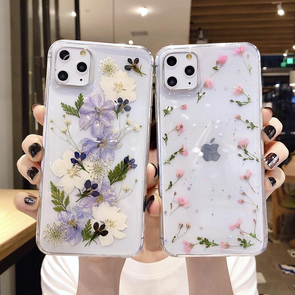 Reale secchi per iPhone fiore del telefono Caso 11 Pro Max XR XS Max 7 8 6 6S Plus X morbido epossidica Daisy floreale trasparente copertura posteriore
