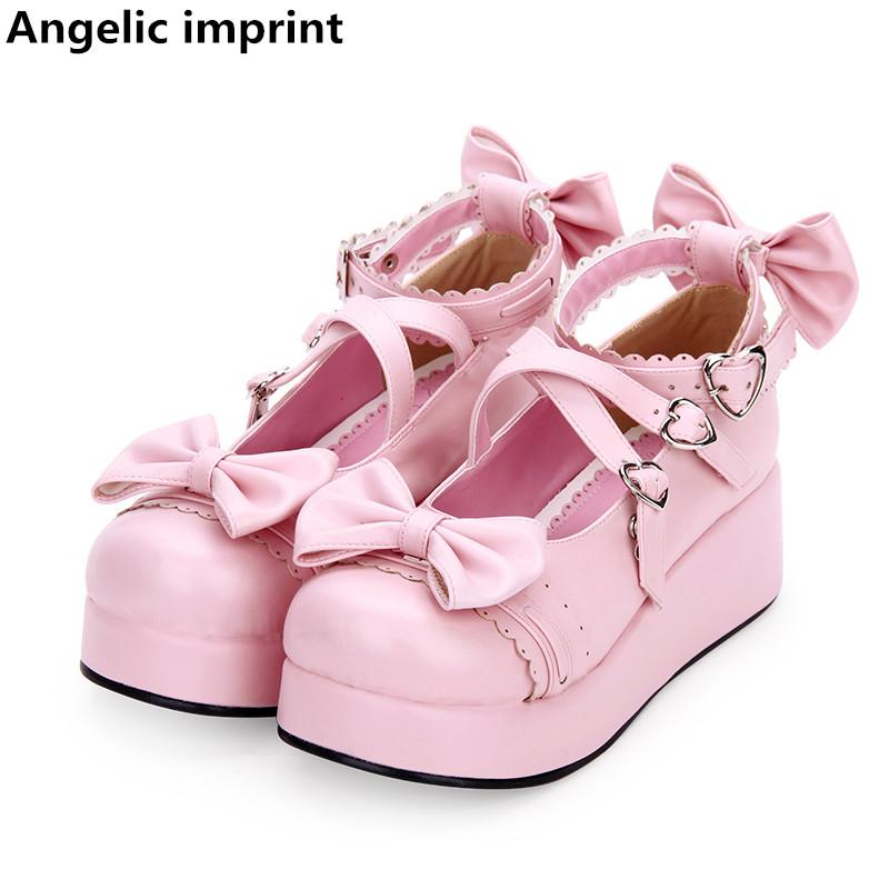 Angelic Imprint Mulher Mori Menina Lolita Cosplay Sapatos Lady Mid Heels Bombas Mulheres Princesa Vestido Sapatos Pérola PU 5 cm