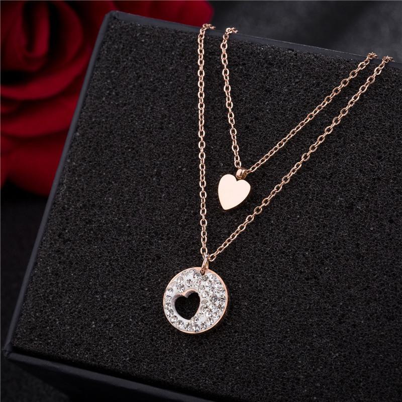 forma do coração Diamantes de aço Titanium conjunto pingente de colar de jóias mulheres amei moda fábrica barato por atacado de alta qualidade colar de jóias