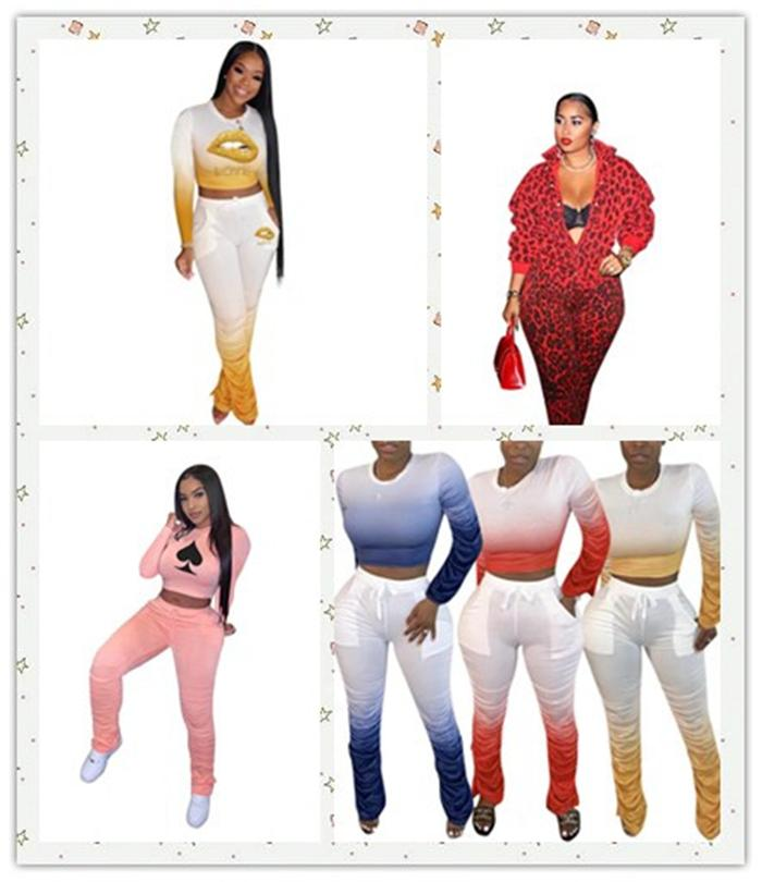 여성 2PCS는 운동복 봄 여름 넥타이 염료 핫 판매 여성 디자이너 세트 스포츠 휘트니스 의류를 실행 바지 누적
