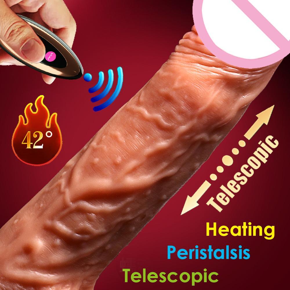control inalámbrico consolador realista Extreme punto G telescópica automático de la calefacción y el sexo peristáltica pene adulto juega para la mujer T200715