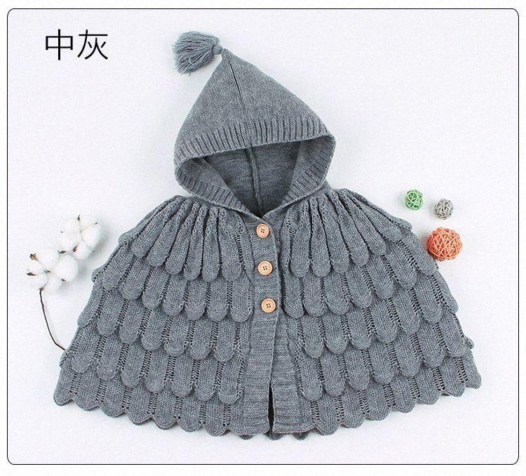 Ins Sıcak Satış Bebek Erkek Kız Pelerin Örme Kapüşonlu Pelerinler Çocuk Panço 2020 Yeni Moda Ceketler Katı Renk Giyim EHT1 #