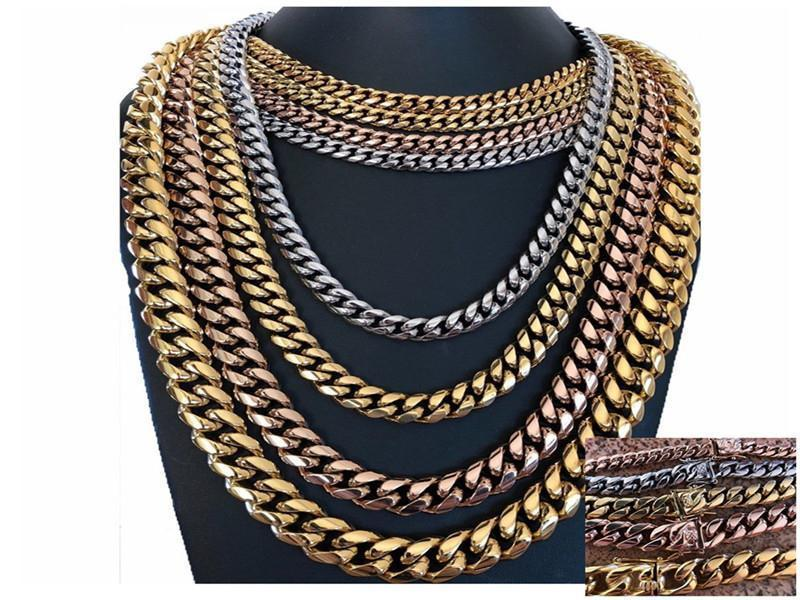 8/10/12/14mm Titanium Stainless Steel Encryption Miami Cuban Link Chains Gold Silver Rose Gold Buckle Mens Necklaces