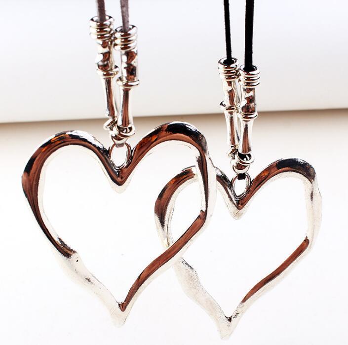 Smooth Grande Cuore collane per la collana lunga corda Velvet Donne d'argento tibetano irregolare Hollow cuore di amore di Boemia collana pendente