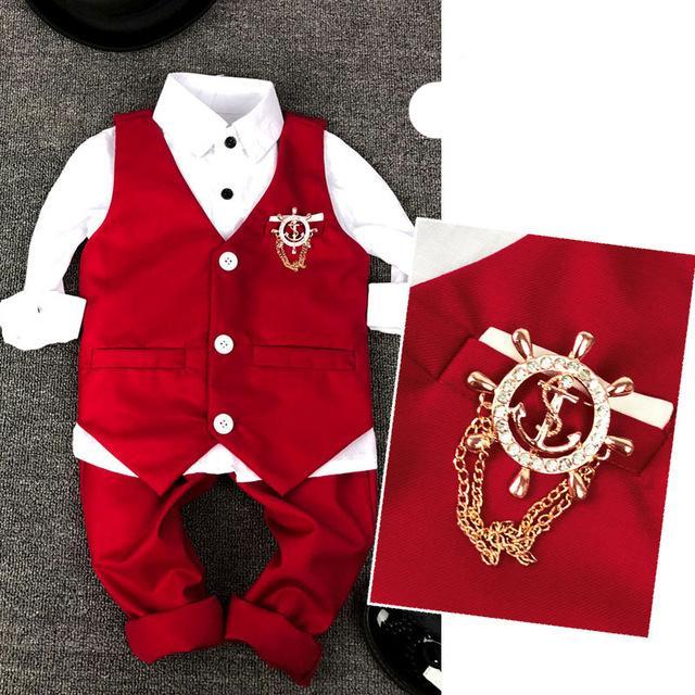 الدعاوى صيف 2020 الجديدة الصدرية الطفل البدلة الأزياء كيد الزفاف لل3Parts الأحمر والأبيض مصمم الملابس الاطفال الفتيان
