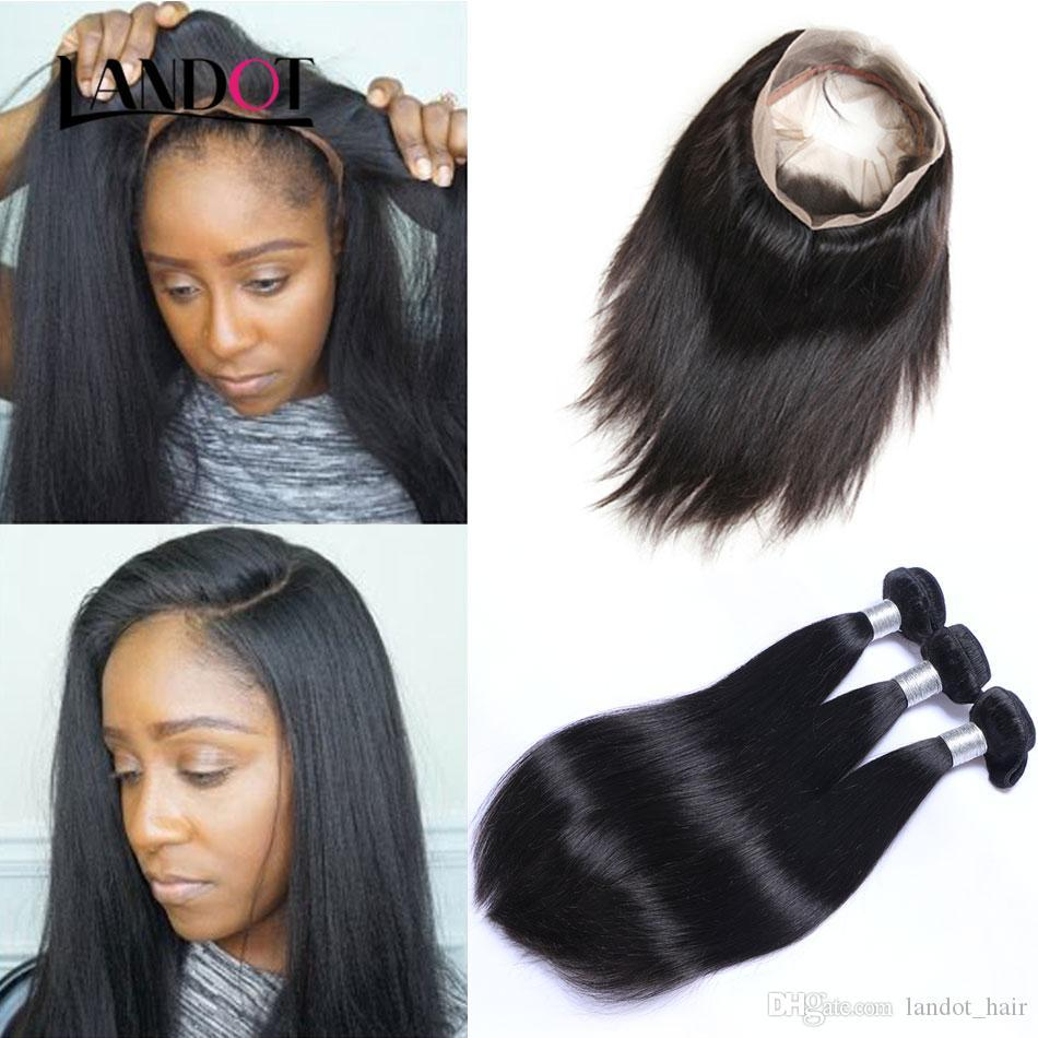 360 Lace Frontal Closures with 3 Bundles Brazilian Straight Virgin Hair 100% Unprocessed Peruvian Indian Malaysian Remy Human Hair Extension