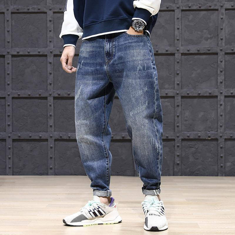 Fashion Streetwear Men Jeans Loose Fit Blue Color Denim Harem Pants Wide Leg Trousers Korean Style Hip Hop Jeans Men Cargo Pants