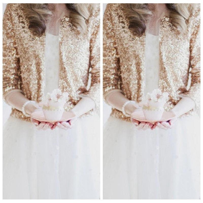 Bling bling Paillettes manches longues Rose d'or Vestes de mariée 2018 haussement formelle de haute qualité Manteaux mariage Boleros Accessoires de mariage à bas prix
