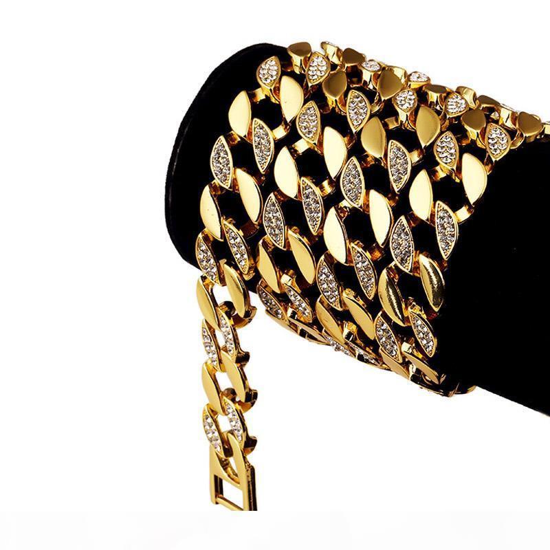 128g lourd 24K massif plaqué or MIAMI CUBAN LINK surdimensionnée Brillant Diamante extra-gros Collier Hip Hop JOAILLERIE Hipster Chaînes hommes