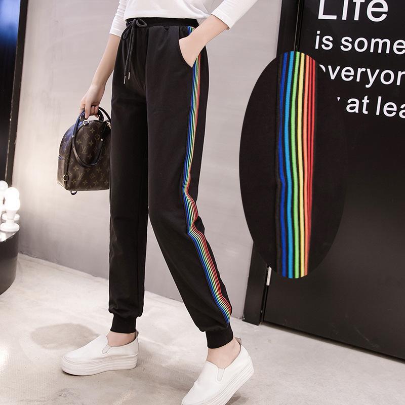 Calça Casual tamanho das mulheres DONAMOL Mais de Harem calças compridas do arco-íris Patchwork listrado com cordão cintura Sweatpants 200KG