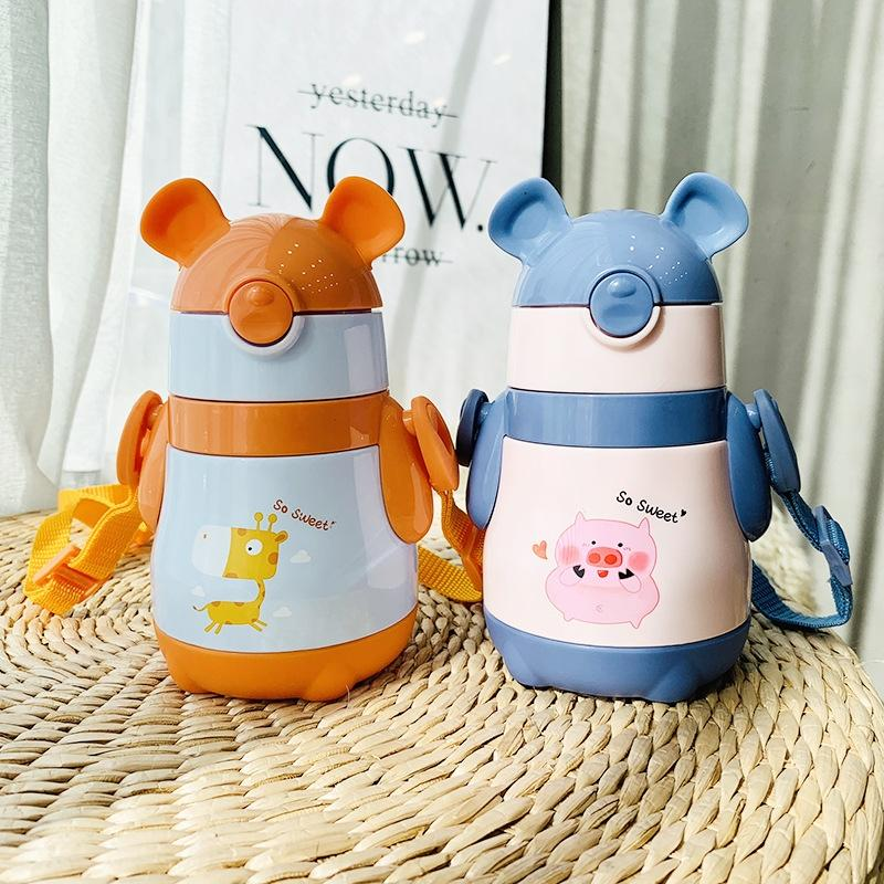 Creative cartoon children's straw handle thermos cup Kettle thermos cup strap 304 stainless steel baby kettle