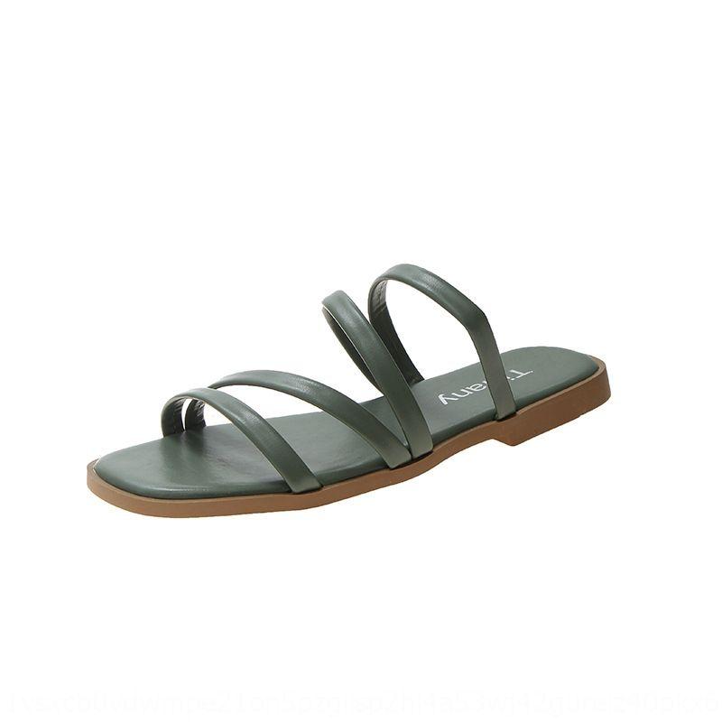 línea de celebridad de fecnk Mujeres 2020 Verano nuevo estilo de Corea del dedo del pie abierto de un carácter zapatos planos de las mujeres de desgaste al aire libre y las sandalias de las sandalias del casua