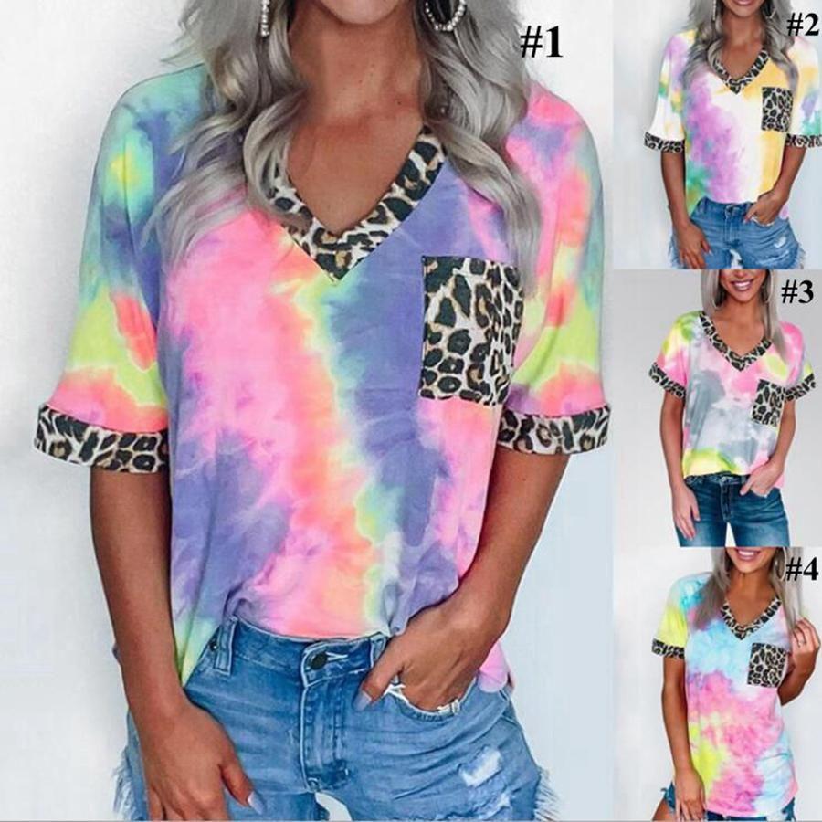 Leopar Batik Gömlek Kadınlar Casual Yaz Renkli Patchwork V Yaka Kısa Kollu Cep Kızlar Tees LJJO7950 Tops