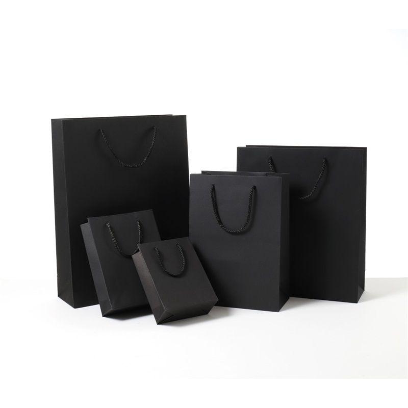 Shopping Pacchetti Borse Affari Affari Business Paper Bag Black card con manico Festival Compleanno di alta qualità Fabbrica diretta 2SH E2