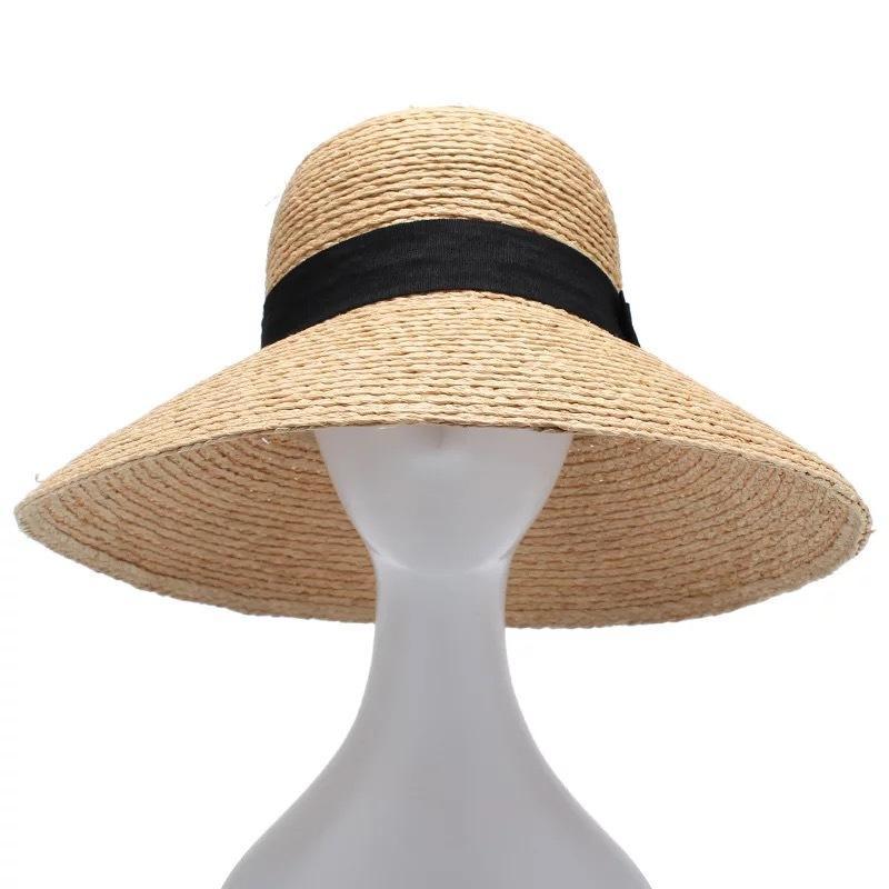 Novas ráfia Mulheres de palha do verão chapéus de sol para praia Hat Moda Feminina Handmade Grande, Largo Brim Bucket Visor Caps presente Y200716