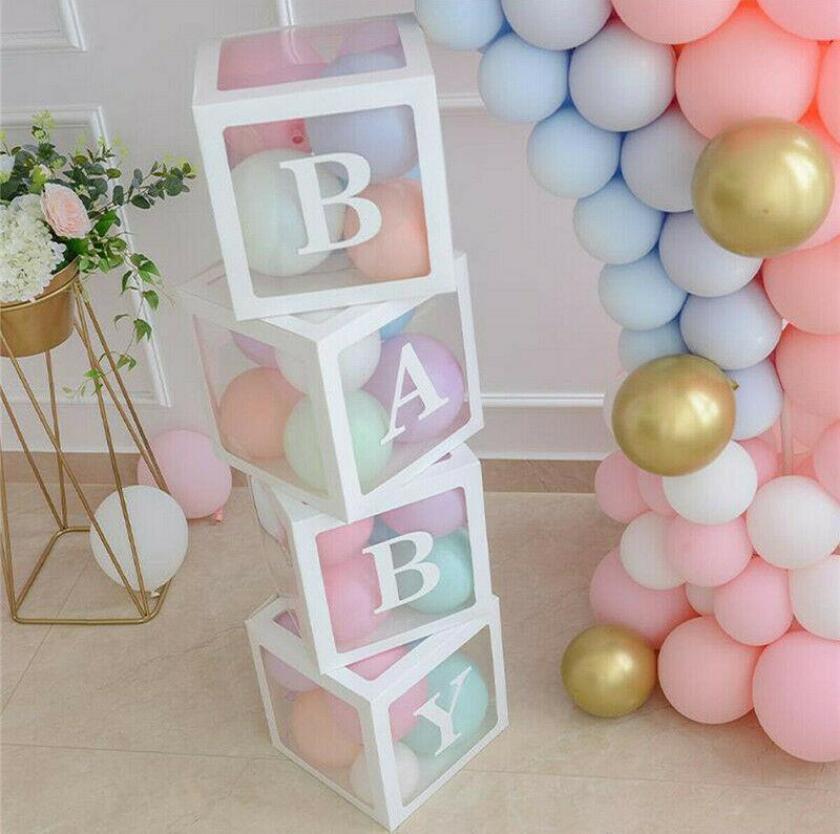 Şeffaf Ambalaj Kutu Düğün Balon Kutusu Düğün Doğum Günü Partisi Dekoru Çocuk Lateks Macaron Balon Bebek 4pcs / lot
