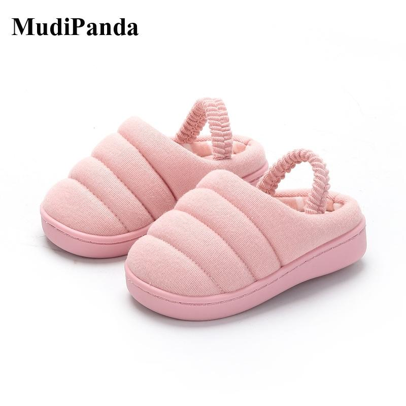 MudiPanda Kids Home Slippers Winter 2020 Candy Color Children'S Cotton Indoor Shoes For Baby Boys Girls First Walkers Non-Slip