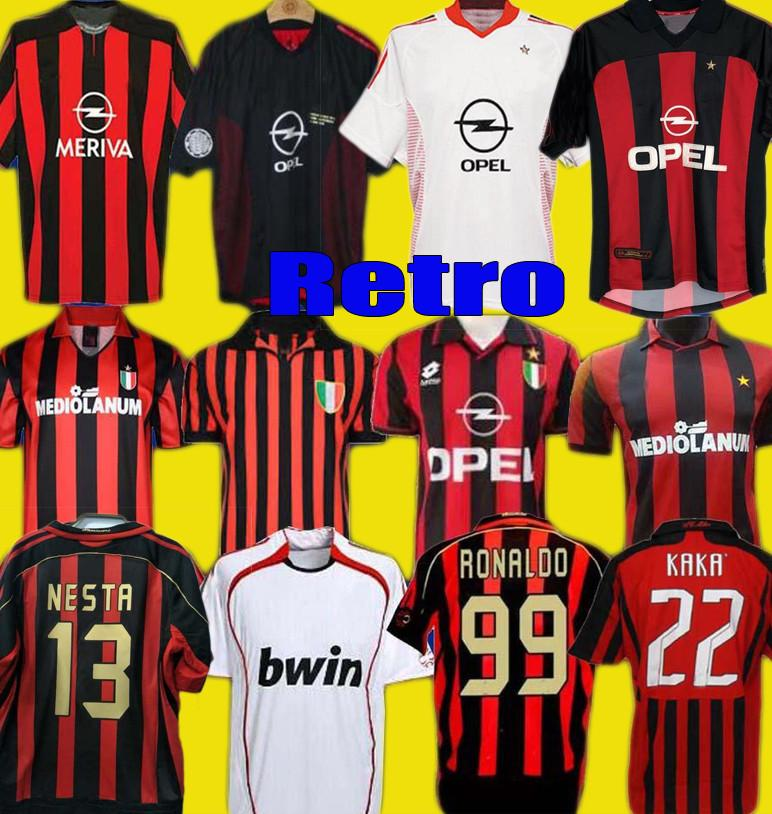 Rétro 1990 2000 1962 1962 1963 2002 2003 2004 CA Milan Gullit Jersey de football 1988 96 97 Van Basten Kaka Chemise de football d'Inzaghi