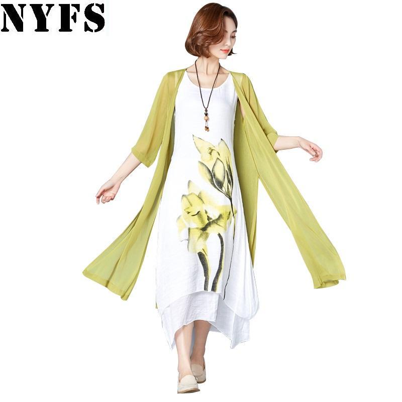 NYFS 2020 nuovo vestito da estate delle donne protezione solare Due pezzi di cotone lino lungo abito Vestiti Robe elbise