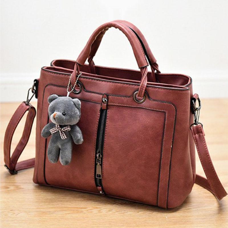 Fashion Women Handbags PU Leather Totes Bag Top-handle Crossbody Bag cute Bear Shoulder Bag Simple Ladies Style Hand Bags