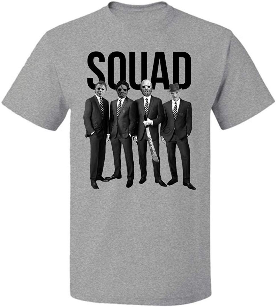 Freddy, Jason Michael Myers Ve Leatherface Squad Unisex Tişörtlü Erkekler Kadınlar İçin Erkekler Kadar 5XL TEE Gömlek Özel Özel Baskı