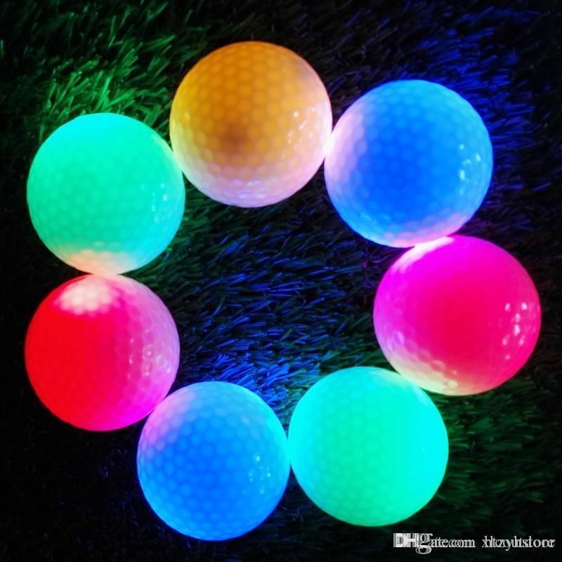 htzyh 도매 - 2PCS 밤 추적자 점멸 라이트 글로우 골프 공 LED 전자 골프 새로운 도착