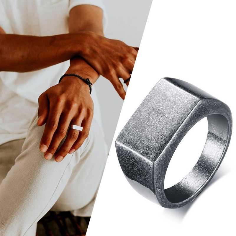 Oxidized silver color Flat Top Men's Signet Ring Square Band Stainless Steel Vintage Rustic Man Jewelry