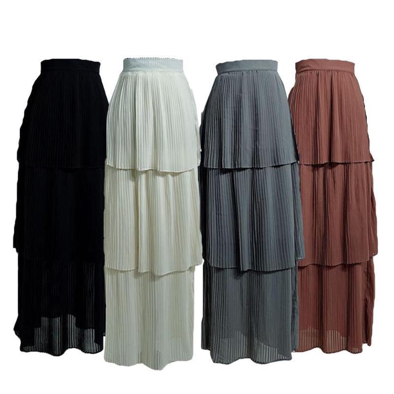 Этническая одежда Мусульманская Женщина Мягурированная плиссированная юбка Bodycr Растяжка длинные высокие талии карандаш платье исламские арабские дна Летние юбки мода CA