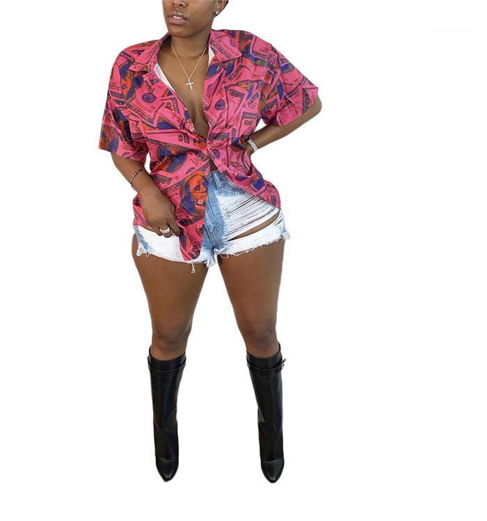 Ropa atractiva mujer dólar Moda suelta camisetas de la mujer del verano de la solapa de manga corta cuello blusas ocasionales de las mujeres