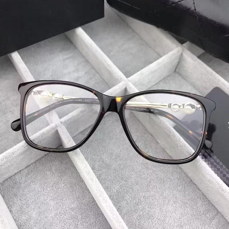 2020 تصميم الأزياء الجديدة Eleglant الإناث مزينة اللؤلؤ إطار نظارات HC3330 إطار لوح المستوردة لصفة النظارات الحالة الكامل مجموعة،