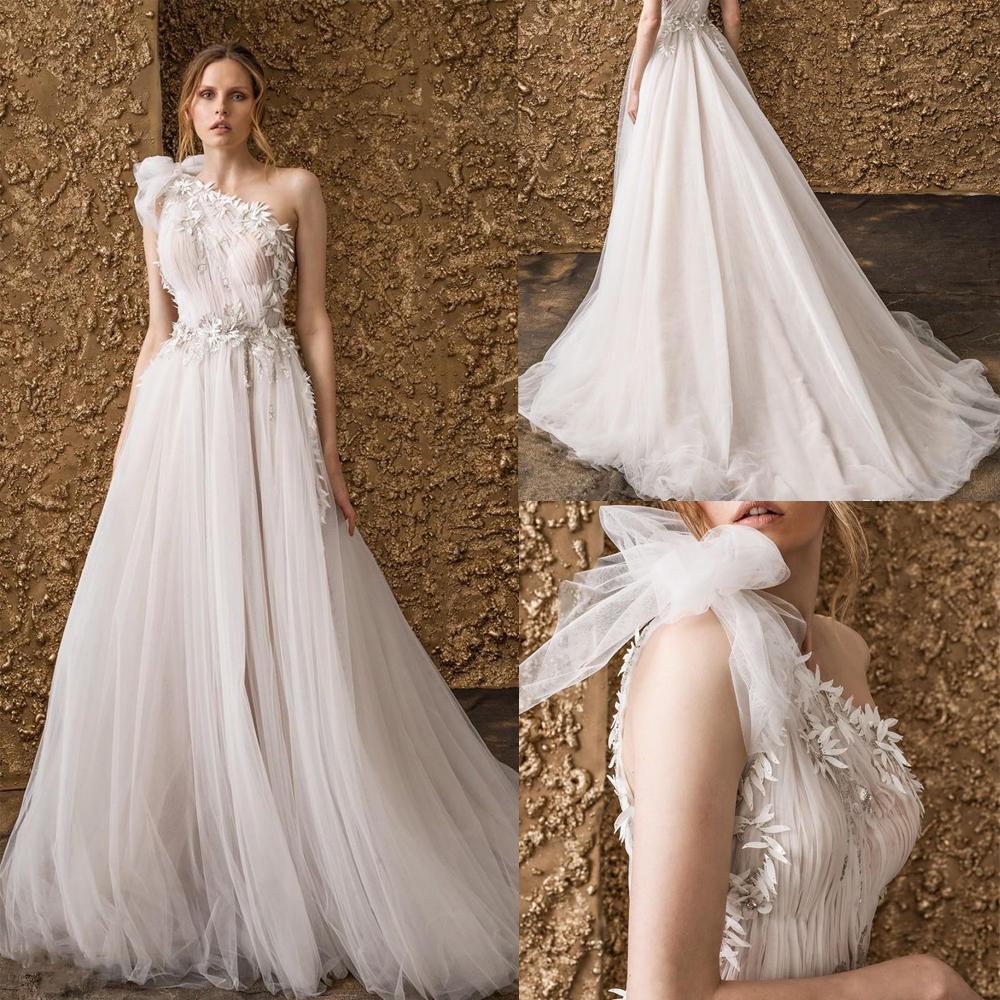 Branco Tulle um ombro vestidos de casamento Sexy Lace Appliqued vestidos de noiva A Linha nupcial Maxi Vestidos