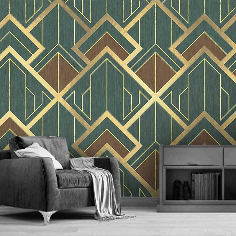 Пользовательский Mural 3D Креатив Геометрического шаблон Золотых Линии TV фон обои Home Decor Гостиной Спальня Фото обои