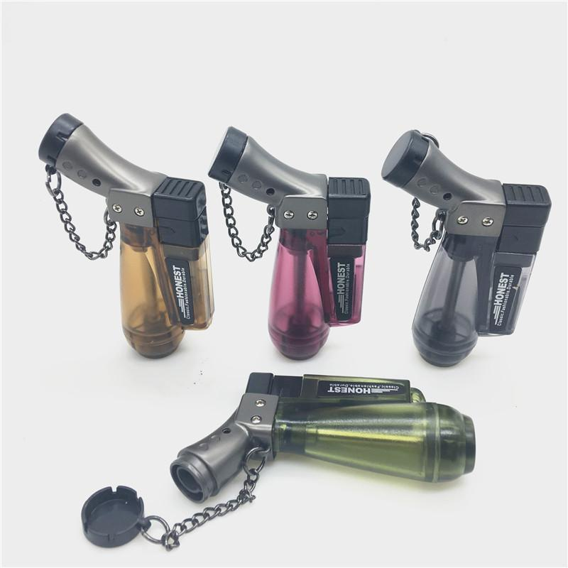 Honest exquisite Mini windproof lighter Metal Jet flame Torch lighters Protective cap Inflatable Butane Torch cigar Lighter