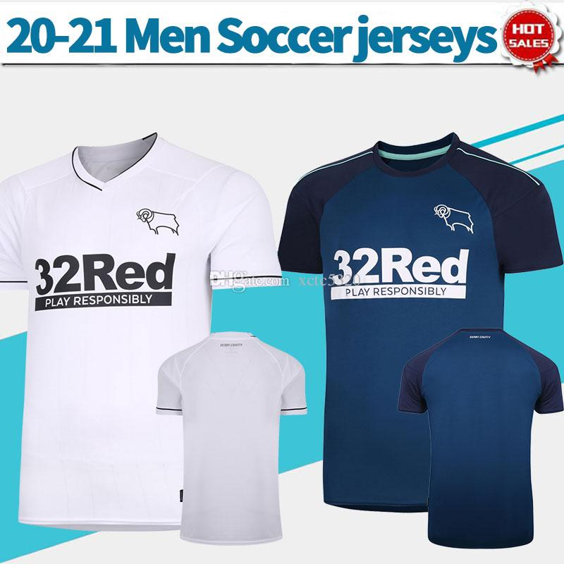 20-21 Derby County Soccer Jerseys 20/21 Men Soccer Shirts Home White Away Blue Derby County مخصصة