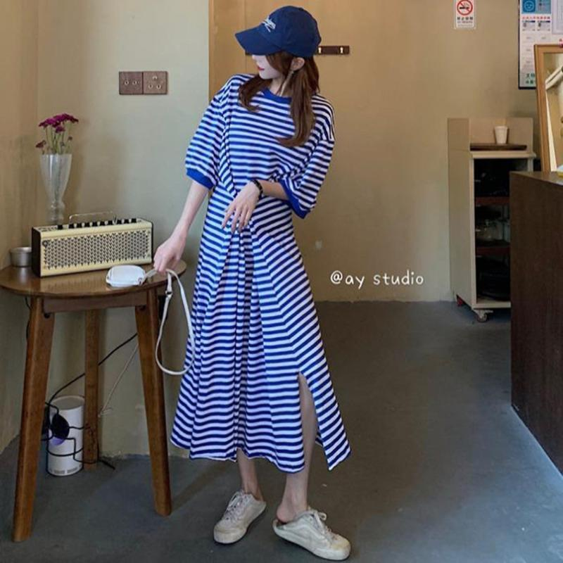 striped Women Vestido Sexy Dress Vintage Dress Midi Krean style French Style White Ropa de mujer Solid Color Summer maxi