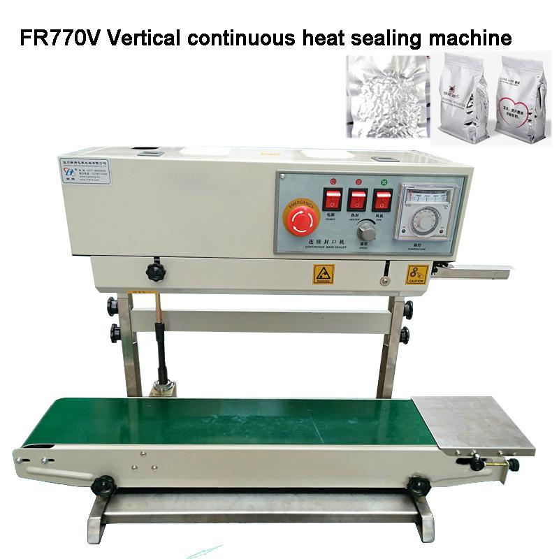 Corpo Vertical 110V 220V 850W automática Folha de alumínio contínua Plastic Bag Sealing Film Machine Vedação da máquina com Transportador