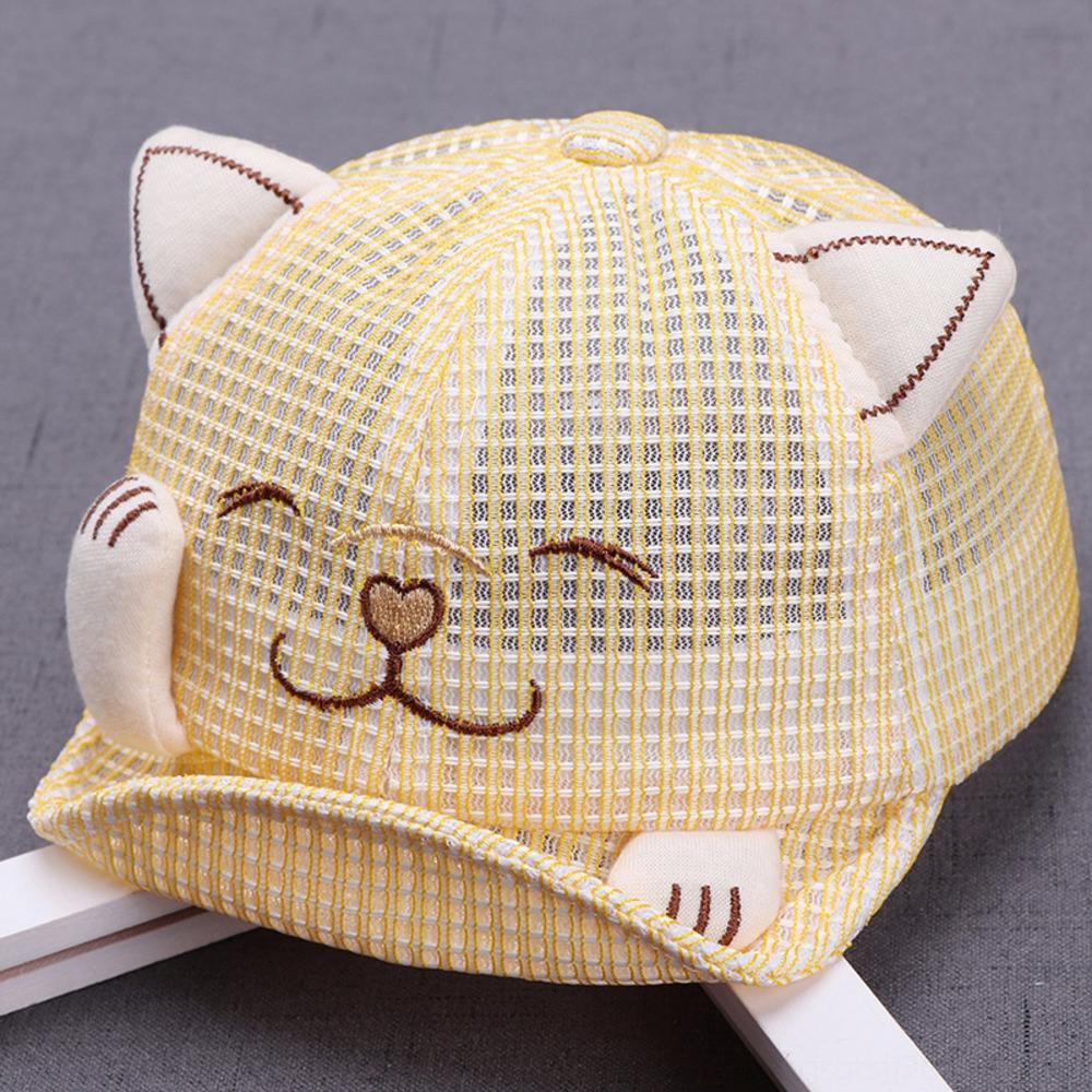 Estate nuovo cartone animato gattino ricamato protezione del bambino protezione respirabile del cappello del bambino ricamato maglia cappello del sole dei bambini