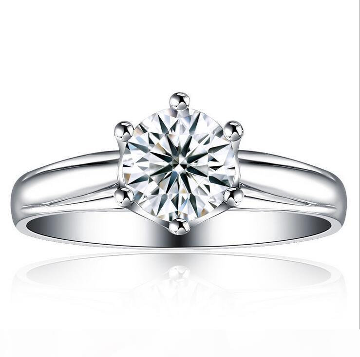 1CT New Women Classic Luxury Jewelry 925 Sterling Silver Round Cut Solitaire CZ Diamond Gemstones Women Wedding Prong Band Ring Gift Size4-9