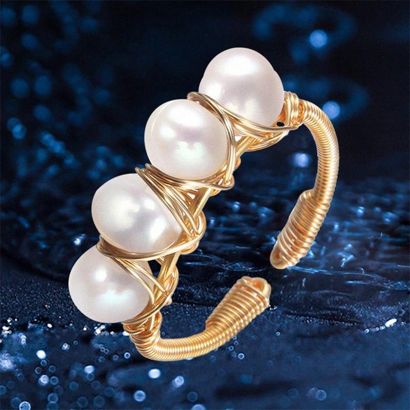 Main perles Bague perle naturelle baroque Bijoux ouverture Creative Anneaux de conception pour les femmes Party cadeau # Fine Jewelry A1f0