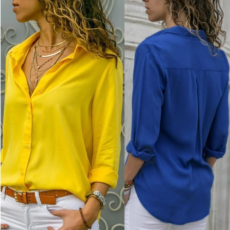 Casual Gevşek Kadınlar Bluz Gömlek 2020 Sonbahar Temel V Yaka Artı boyutu Bluz Uzun Kollu Düğmeler Beyaz Gömlek Kadınlar Giyim Tops