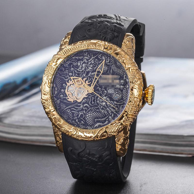 새로운 드래곤 시계 빅 스틸 밴드 고품질 석영 남성 패션 시계 사업 캐주얼 실리콘 시계 다이얼