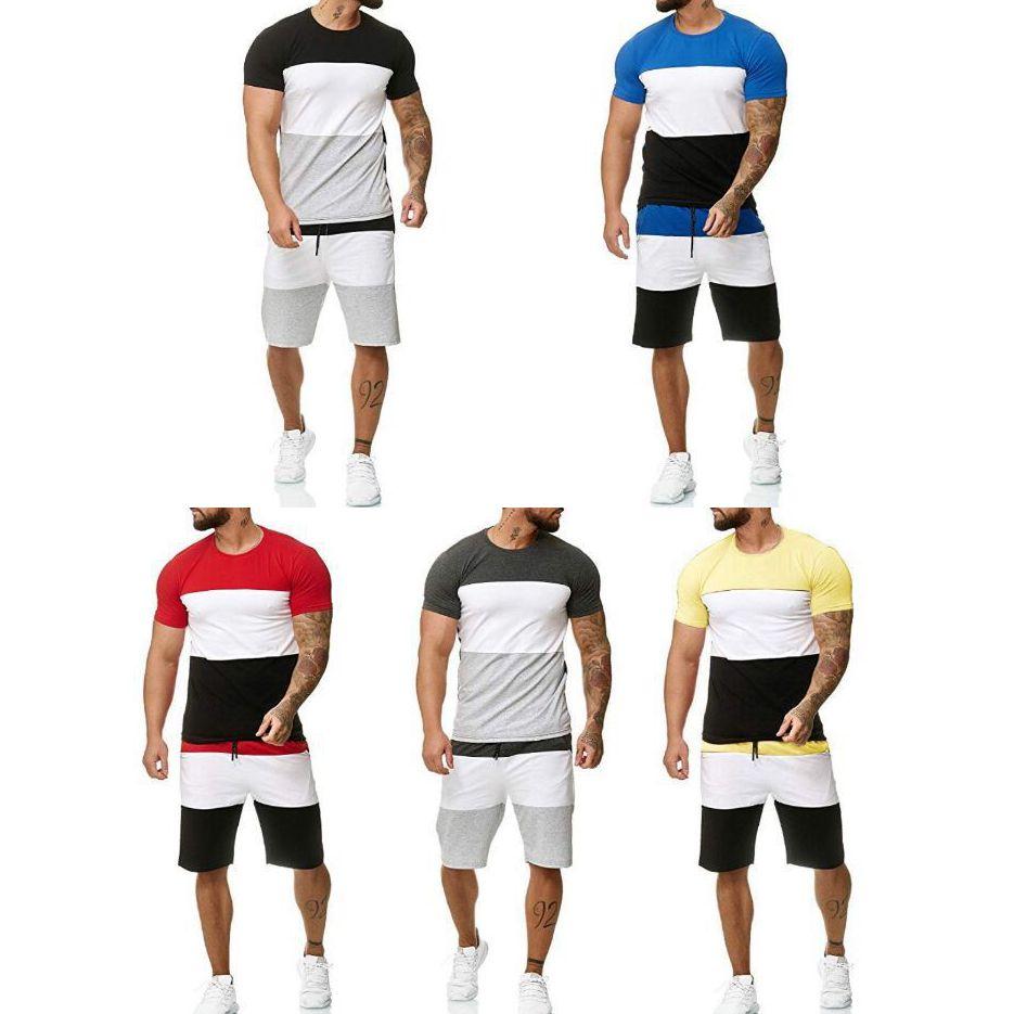 Hommes d'été Survêtements Vêtements Ensembles T-shirts Mode + Shorts Deux pièces Ensembles Hommes Casual vrac Streetwear Vêtements de course Plus Size