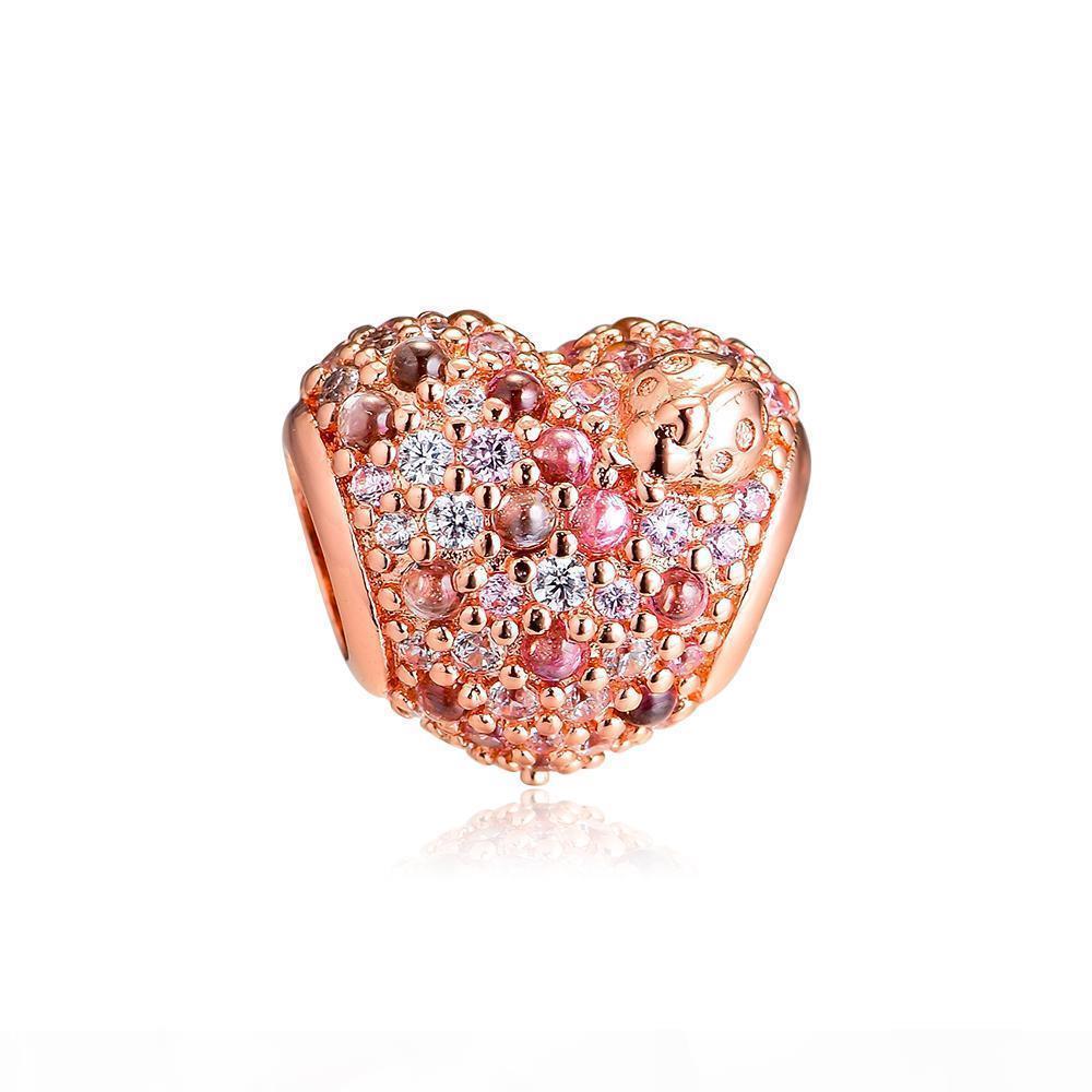 2019 Spring 925 Sterling Silver Jewelry Rose Sparkling Ladybug Heart Charm Beads Fits Pandora Bracelets Necklace For Women DIY Making