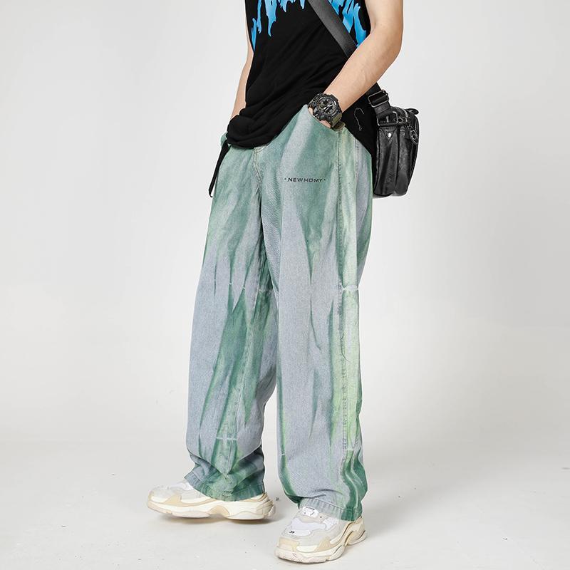 Graffiti Jeans a gamba larga Streetwear Baggy Denim Jeans Hip Hop Tie Dye Jeans Pantaloni Vintage Distressed Denim colorati pantaloni