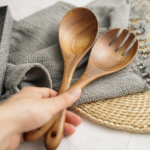 Gabel und Löffel aus Holz Salatbesteck Acacia Utensilien Kochlöffel Cultery Küchenhelfer