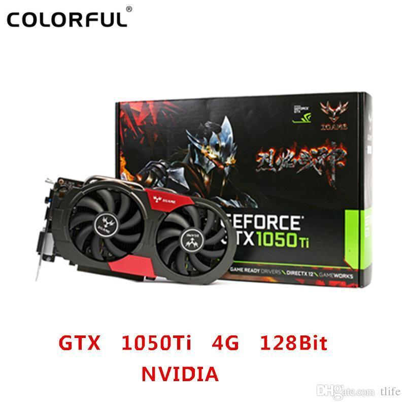 Bunte GTX 1050Ti NVIDIA Grafikkarte GeForce iGame GTX1050 Ti GPU 4 GB GDDR5 128-Bit-PCI-E 3.0 Gaming-Grafikkarte DVI + HDMI + DP BA