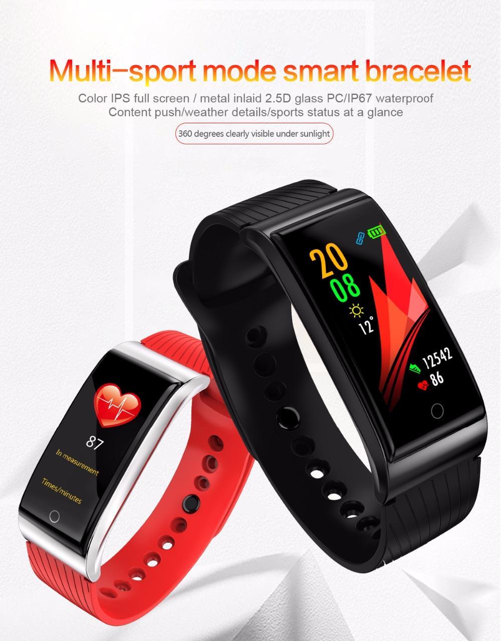 1pcs NEW F4 inteligente Banda pulseira de Fitness Rastreador de 0,96 polegadas Full Color IPS HD Display Monitor de Freqüência Cardíaca frete grátis Waterproof