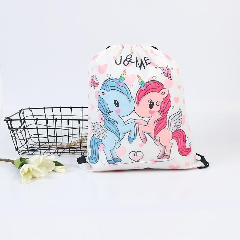 Cep 3D Cep Sırt Çantası Bag demeti torba boynuzlu at alışveriş sırt çantası İpli baskılı paket 3D boynuzlu at alışveriş İpli baskılı